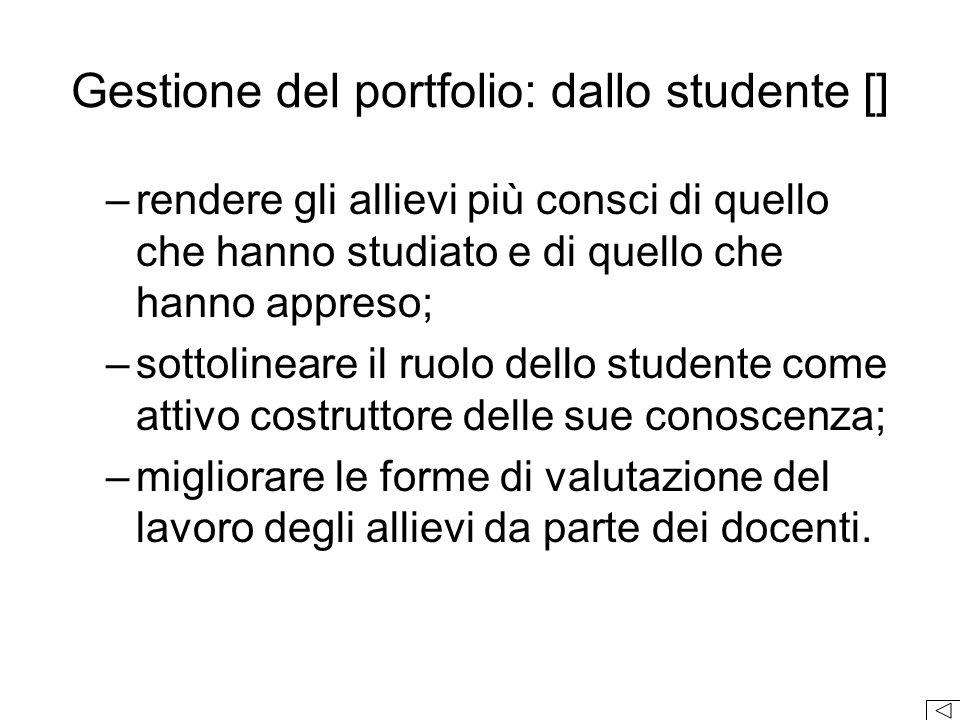Gestione del portfolio: dallo studente []